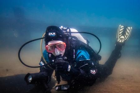 Lake Superior wreck photographer taking a shot on the Bermuda